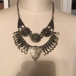Gold/Bronze fringe boho statement necklace